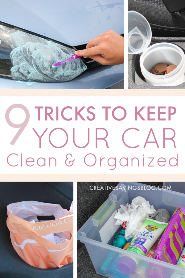 Why have I not heard of these magic car cleaning tips before!? I had no idea #6 even existed! I'm totally going to go clean and organize my car this weekend and I think I'll be using every single one of these 9 tricks to keep my car organized in the future.