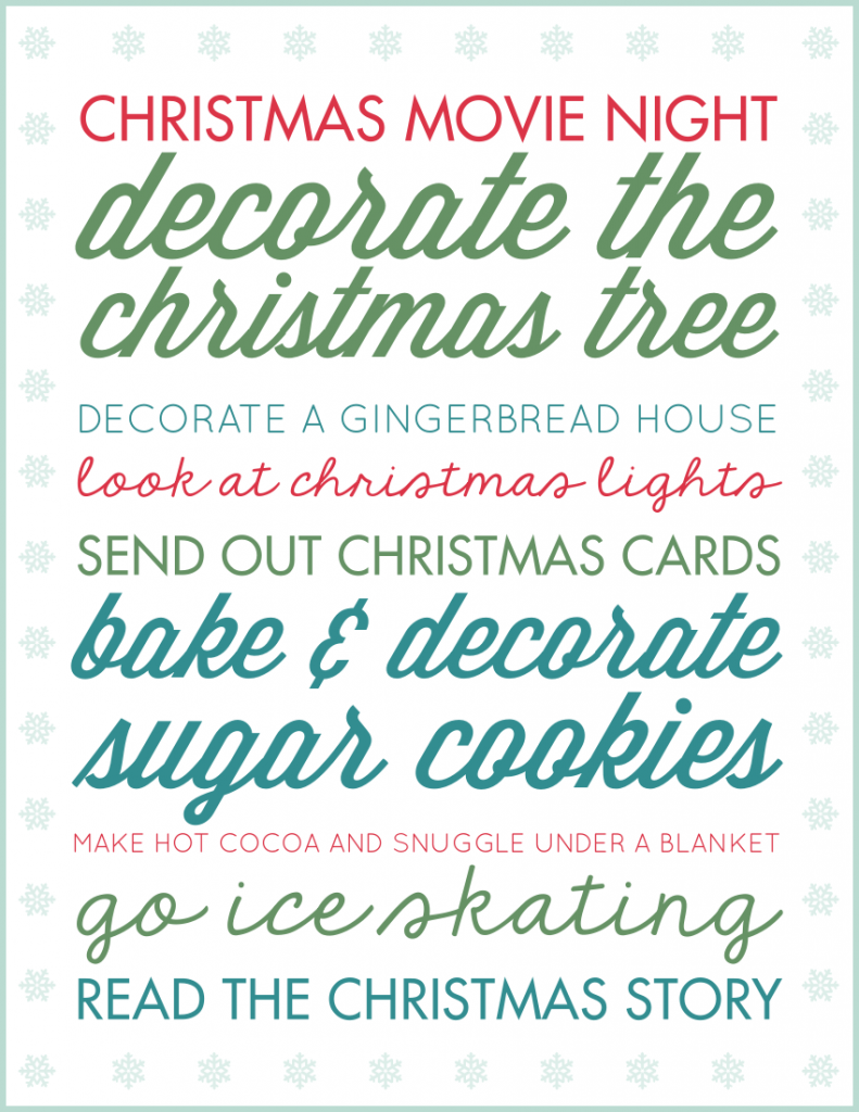Make the most of the Holiday Season and focus on the moments that matter with a printable Christmas bucket list! Looks super cute in a frame and you can cross off each idea with a dry erase marker as your family completes them. Get ready to make this year your best December yet!