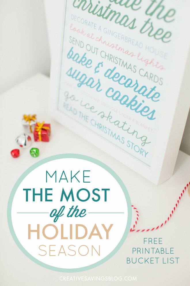 Make the most of the Holiday Season and focus on the moments that matter with a printable Christmas bucket list! Looks super cute in a frame and you can cross off each idea with a dry erase marker as your family completes them. Get ready to make this year your best December yet! #christmasbucketlist #holidaybucketlist #holidaytraditions #christmastraditions