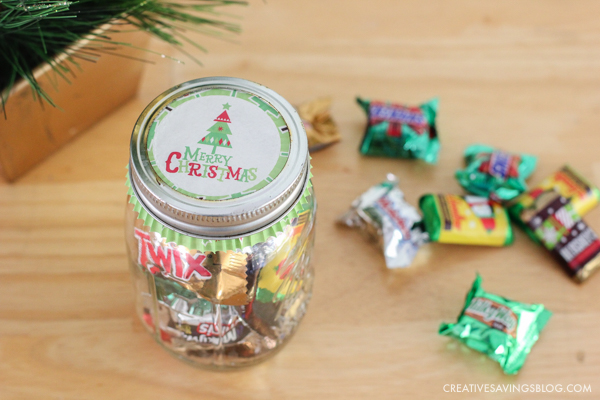 DIY Candy Jar gift using a cute muffin liner as a cover