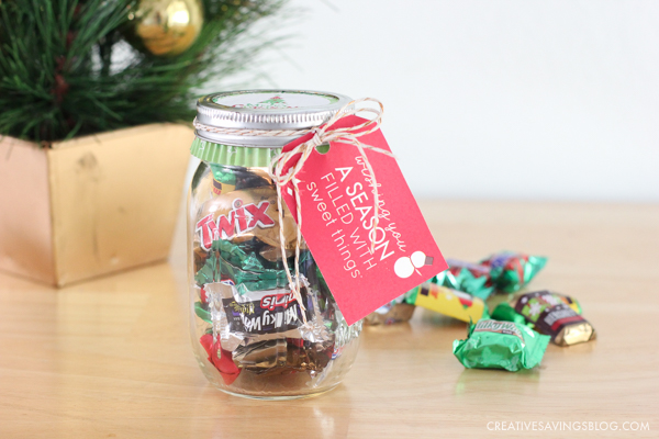 Finished product - DIY Candy Jar Gift with Gift Tag tied on