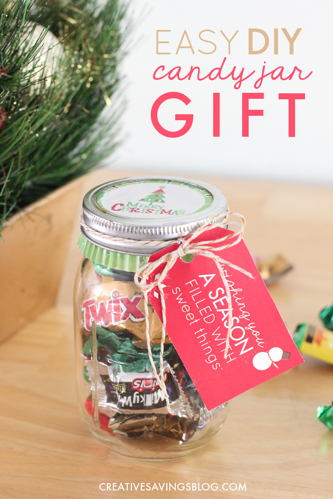This DIY candy jar is too cute—and it comes with printable gift tags! Why has no one told me about using a muffin liner for the lid before?!