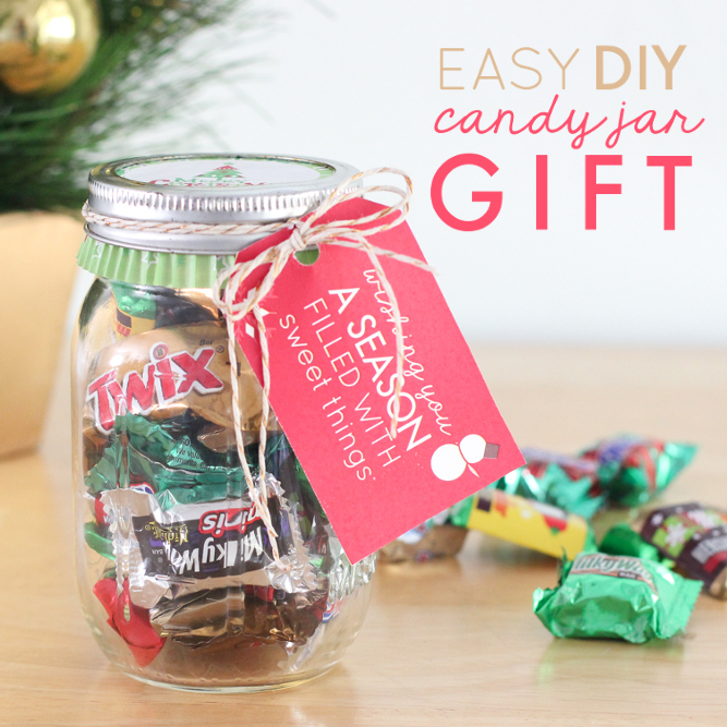 super easy diy candy jar with cute printable gift tags