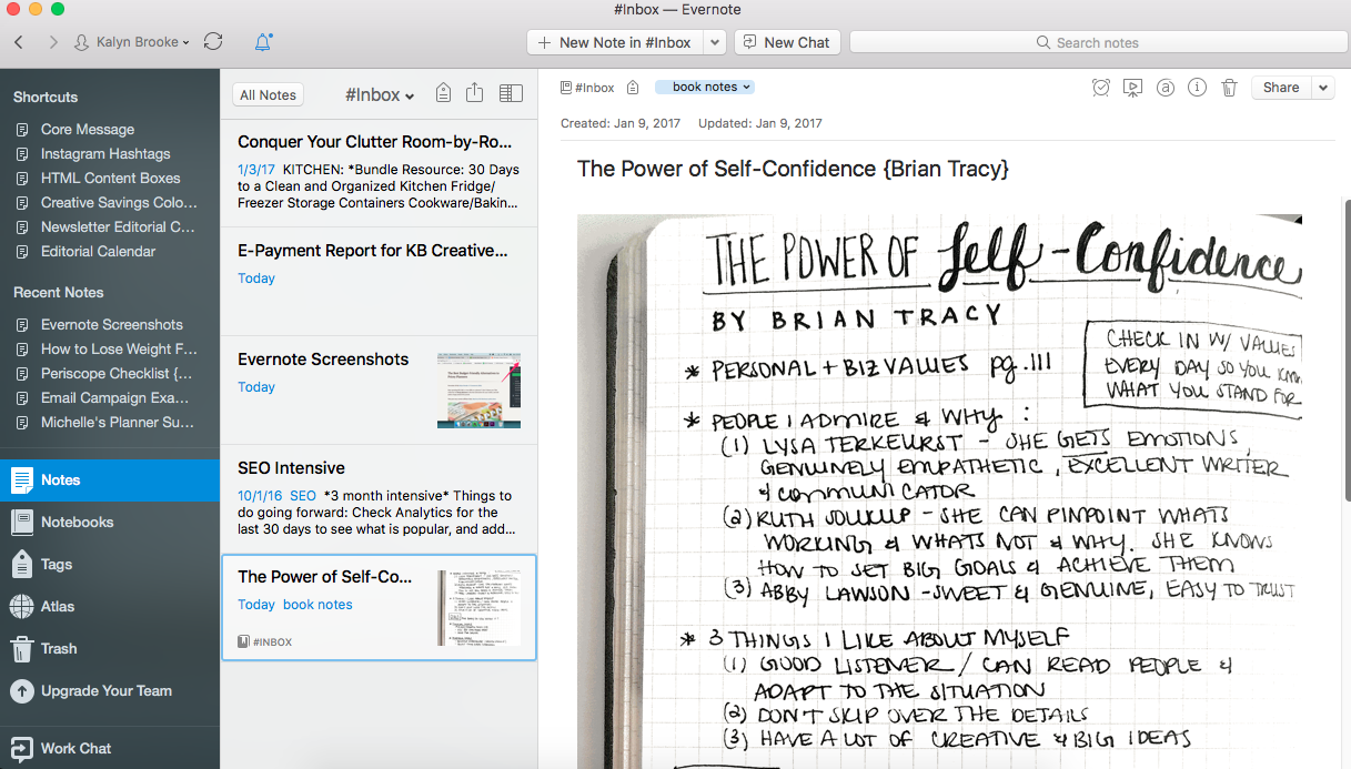 I save inspiring BuJu layouts from other Bullet Journal creatives in evernote so that I can reference them during my Bullet Journal Migration.
