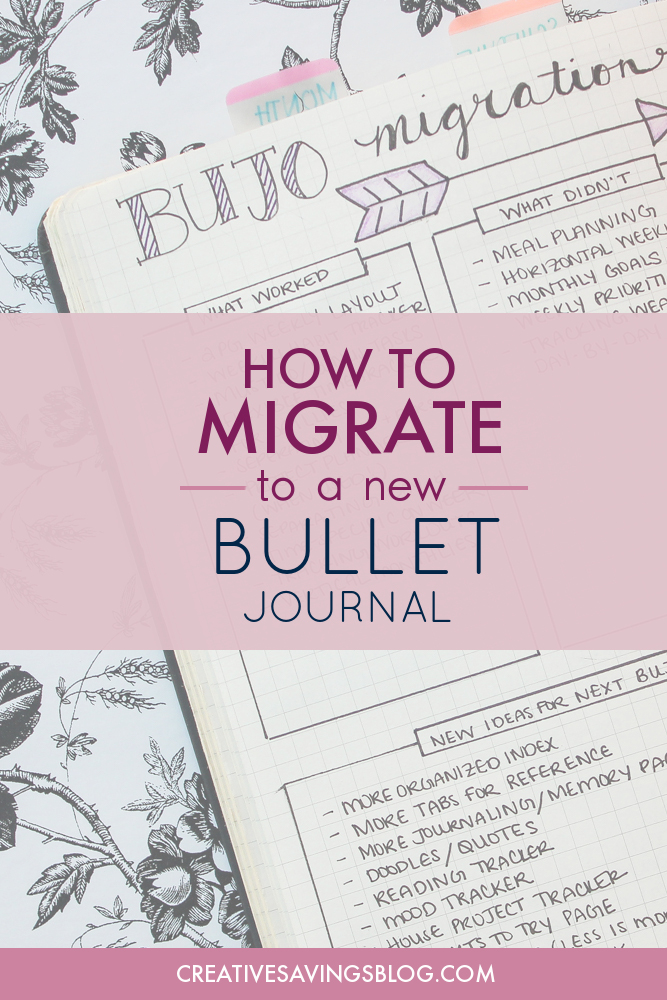 Wondering what to do when you run out of space in your Bullet Journal? This is THE BEST step-by-step guide for Bullet Journal migration. She breaks everything down so it's not overwhelming. I kicked my clunky planner to the curb a year ago and when I had to migrate I thought about going back. This post showed me how to migrate my bullet journal the easy way! #bujo #bulletjournaling #bulletjournalmigration