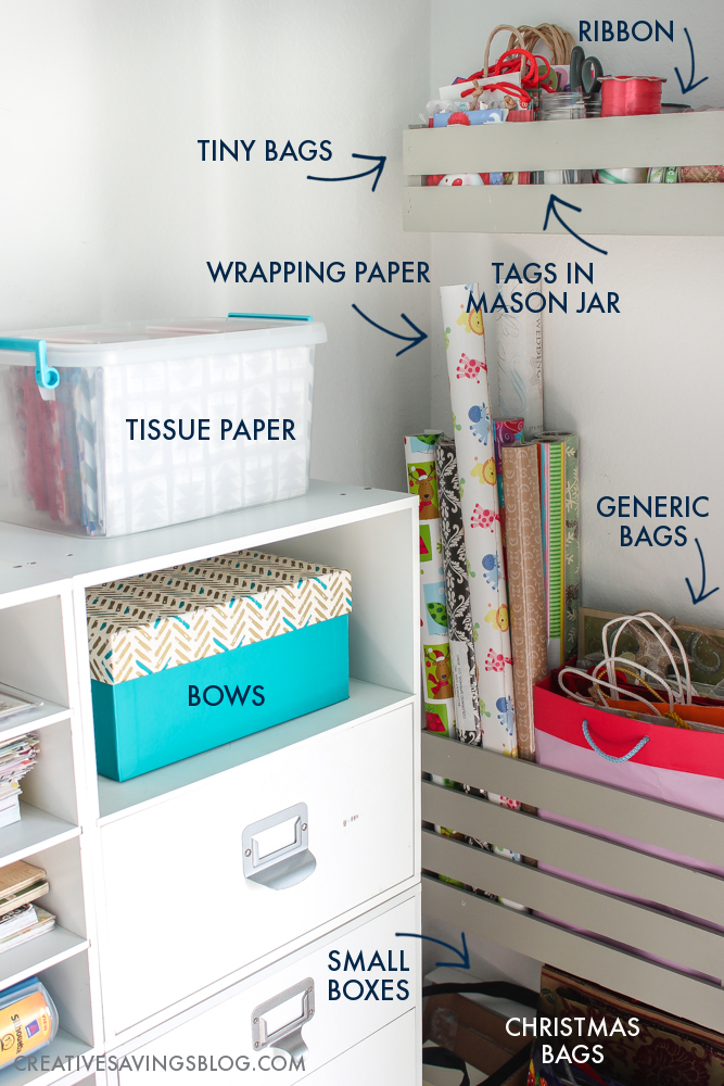 Don't fight against storage solutions that don't work. This functional {yet cute} gift supply organization center provides a place for wrapping paper, tissue paper, ribbon, and bags, without getting crushed or crinkled. It fits perfectly inside a small closet!