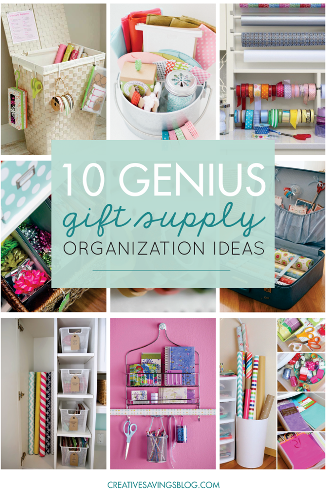 10 Genius Ideas to Organize Your Gift Supplies | I hate having to pull a giant tote out of the back of the closet every time I need a bag for a baby shower. These gift supply organization ideas are exactly what I've been looking for!!! I've got to do this so my gift supplies are neat, organized, and so easily accessible.