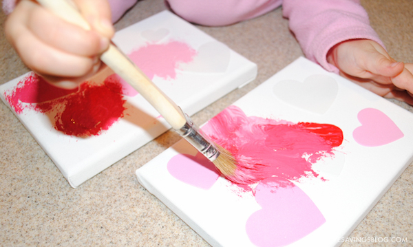 Valentines Day Crafts for Kids - Painted Heart Canvas