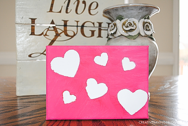 Valentines Day Crafts for Kids - Completed Painted Heart Canvas