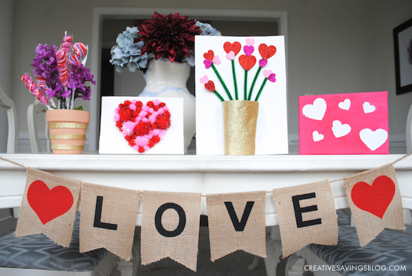 Valentines Day Crafts for Kids - Printed Heart Canvas