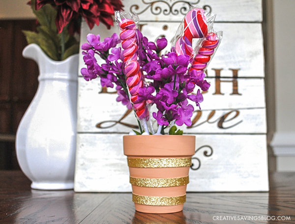 Completed Lollipop Flower Pot - Valentines Day Crafts for Kids