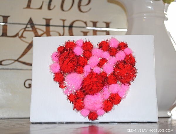 Valentines Day Crafts for Kids - Completed Pom Pom Heart Canvas