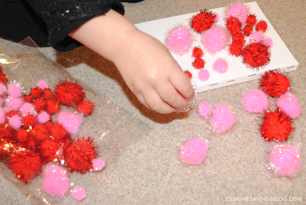 Valentines Day Crafts for Kids - Pom Pom Heart Canvas