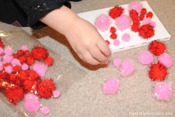 Valentines Day Crafts for Kids - Pom Pom Heart Canvas