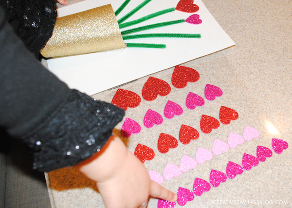 Valentines Day Crafts for Kids - Vase and Flowers Card