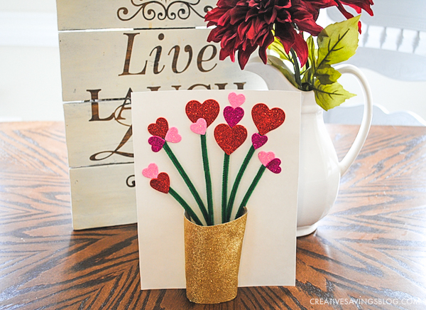 Completed Vase and Flowers Card - Valentines Day Crafts for Kids