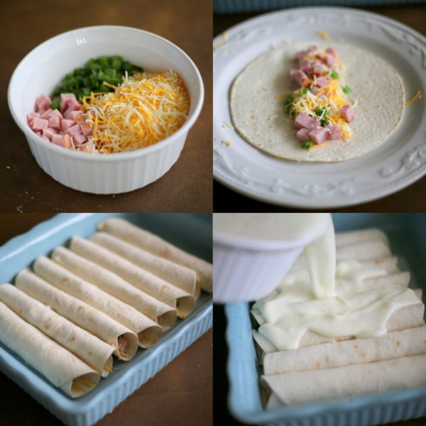 Leftover Ham and cheese is rolled up into a tortilla and then a egg/milk mixture is poured over the top.