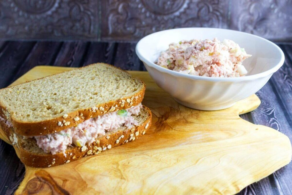 Perfect for a quick lunch, or even to take to work {As long as you have a cooler of course} this Hawaiian Ham Salad is a great use for all that leftover ham!