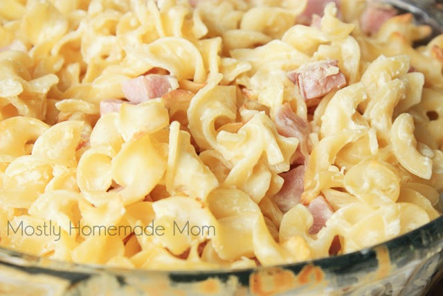 Egg noodles and ham tossed in a light, cheesy sauce - the perfect easy weeknight meal! And even more perfect to use up that Leftover Ham.