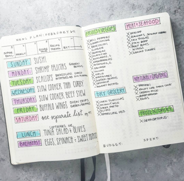 7 meal plan bullet journal layouts to become a better meal planner