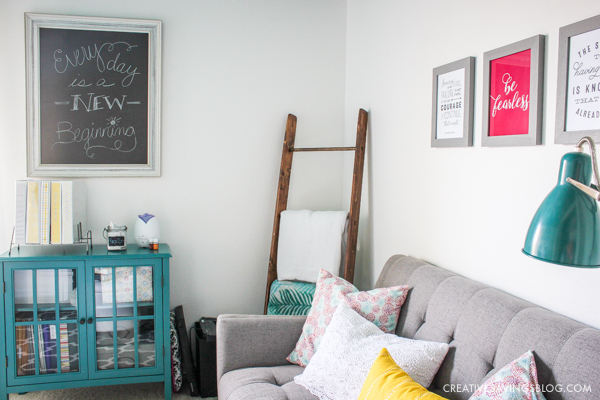Need design ideas for your home office? This cozy and colorful space fuels creativity with a functional yet stylish design. You won't mind getting work done in an office like this!