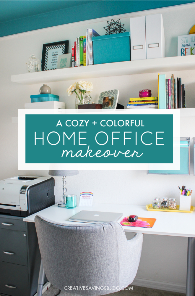 Need home office ideas? This cozy and colorful space fuels creativity with a functional yet stylish design. You won't mind getting work done in an office like this!