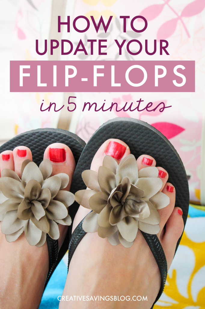 How cute are these DIY Flip Flops???? I was looking for the perfect beach craft for my kids as we get ready for summer vacation and OMG these are just perfect!!! We've got some old pairs lying around and this is going to make a great Flip Flop Upcycle project. I'm so glad she puts the trick in there about how to keep the flowers from falling off, because I wondered that same exact thing!! #diyflipflops #flipflopmakeover #beautifyflipflops #flipflops