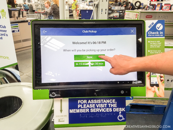 Sam's Club Online - The in-store check-in was quick and easy.