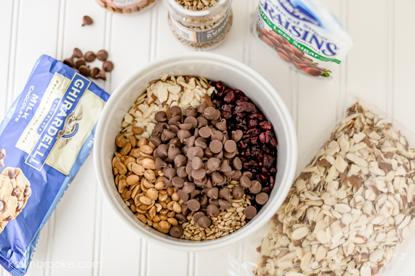 For best results, put all the ingredients into a bowl large enough to mix the trail mix easily without spilling.