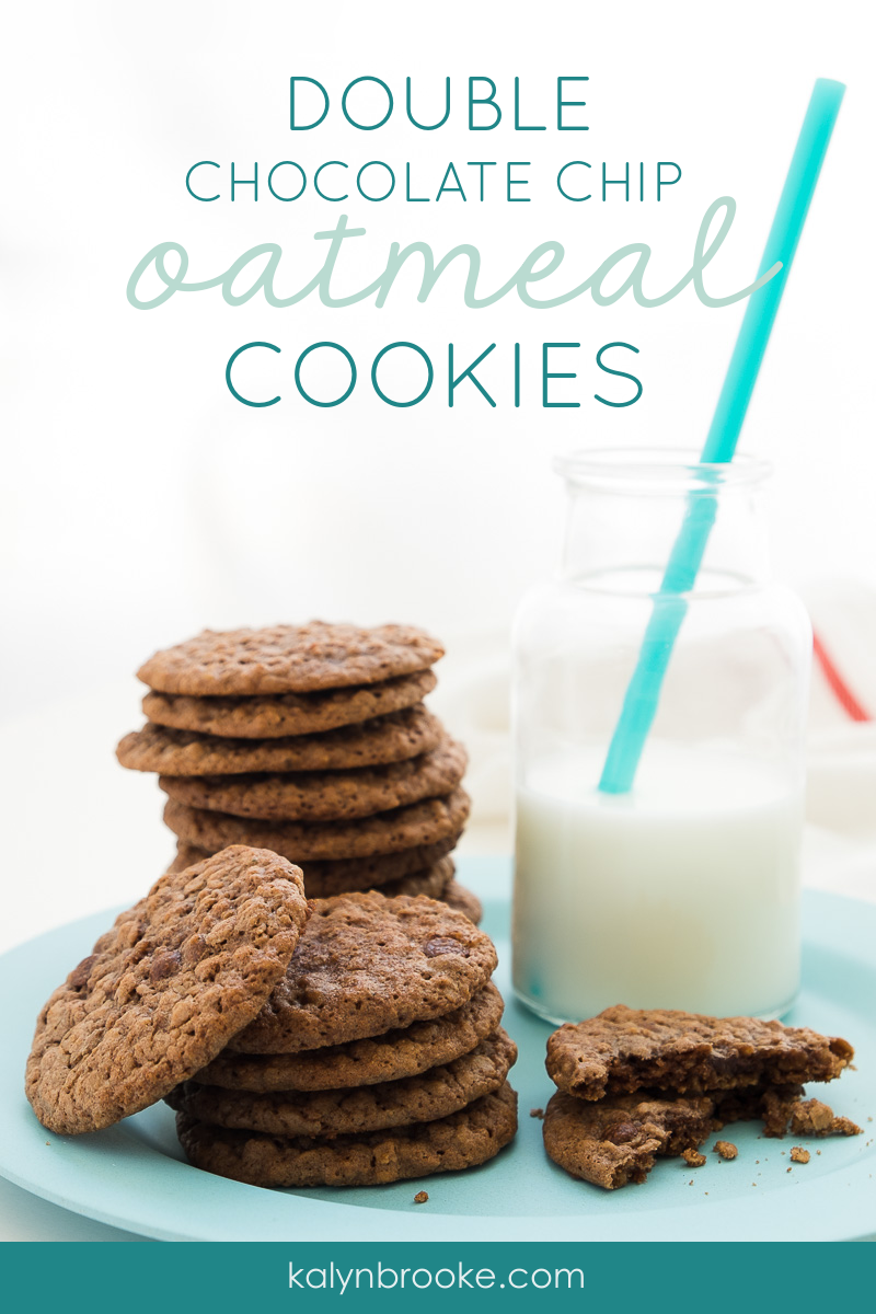 You have got to try this easy and oh-so-rich Double Chocolate Oatmeal Cookie Recipe! You can whip it up in just a few minutes and the cookies taste AMAZING right out of the oven or 3 days later out of the freezer. If you've been looking for the recipe that beats all other Double Chocolate Oatmeal Cookie recipes, look no further...you've found it! #chocolatecookies #cookierecipe #cookieideas #doublechocolatecookies #chocolateoatmealcookies