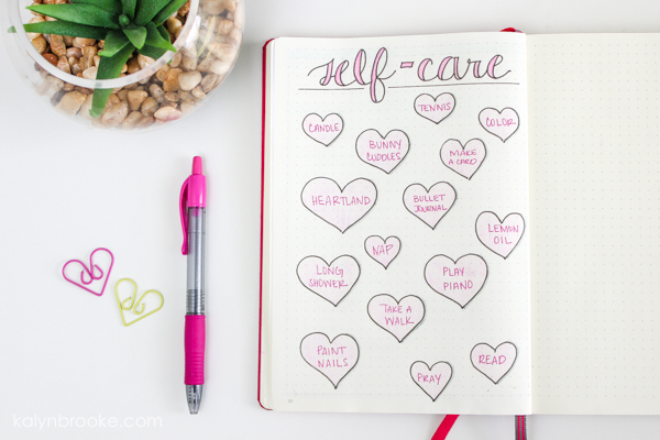 self care ideas listed on a journal page