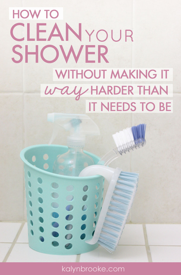 What can you do to make cleaning the shower easier, faster, and not so gag-worthy? Don't miss these two surprisingly effective tips on how to clean your shower with minimal effort--plus the only four products you need to beat the grime! #cleaningtips #bathroomcleaningtips #howtocleantheshower #howtocleanyourshower #showercleaning