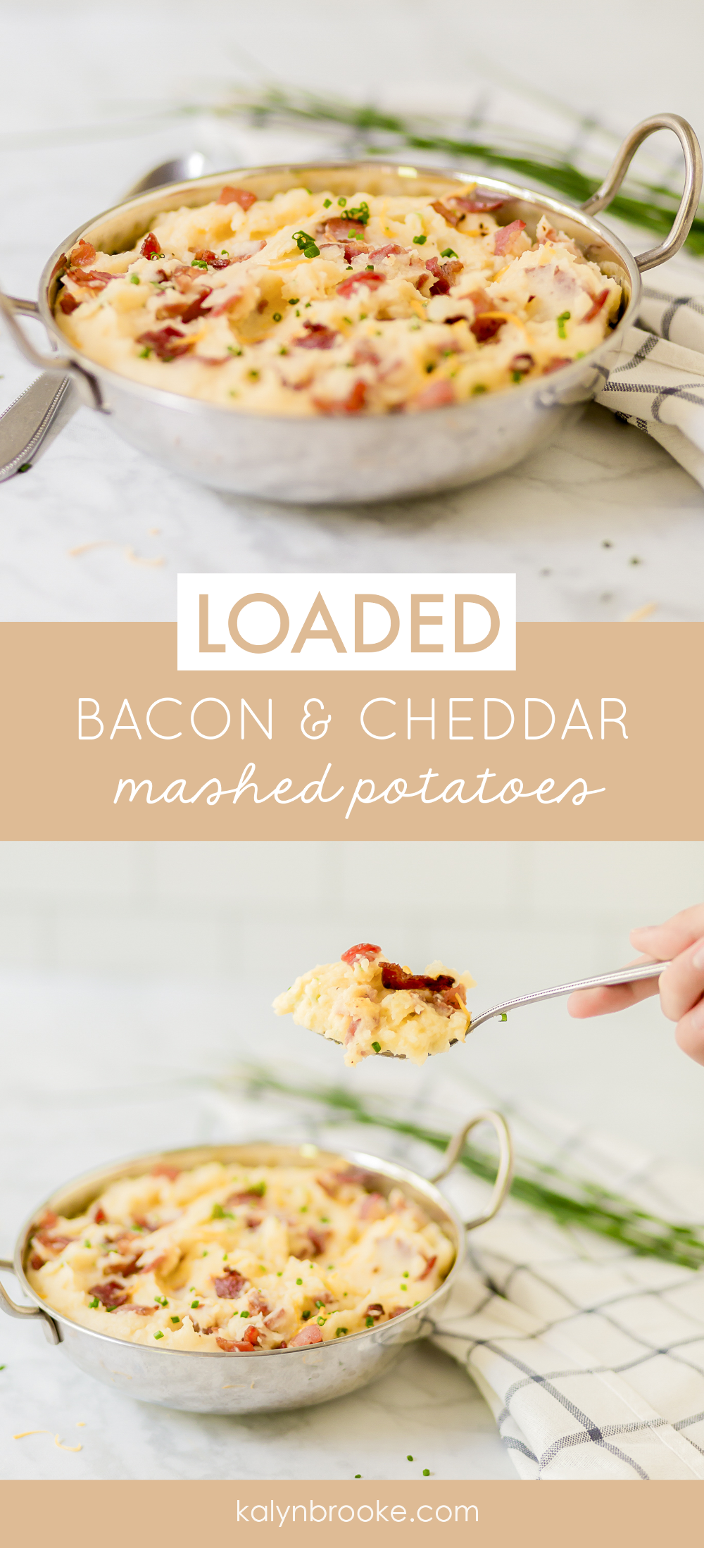 Mashed potatoes are a must at Thanksgiving, and this bacon cheddar mashed potatoes recipe gives the average potato a gourmet upgrade. Topped with a savory trio of bacon, cheddar, and green onions, you can't go wrong with this creamy dish! #baconcheddarmashedpotatoes #mashedpotatoes #potatorecipe