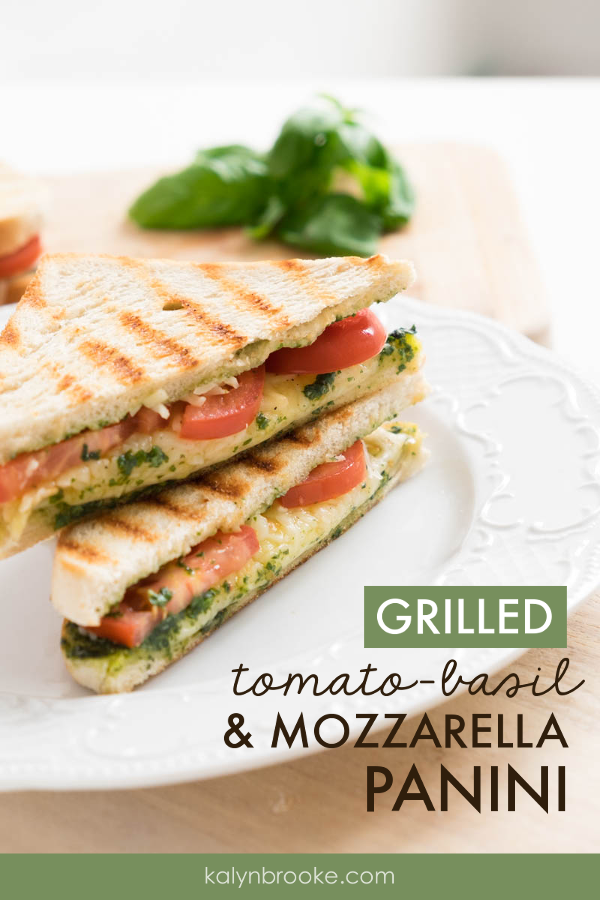 This Tomato Basil Panini is To. Die. For. I never thought I liked tomatoes on sandwiches, {and I still don't} but THIS is the exception. I just LOVE this Tomato Basil Sandwich. The best part is: it's an easy healthy lunch that tastes like you spent hours in the kitchen! #paniniideas #grilledpanini #lunchideas #tomatobasilpanini