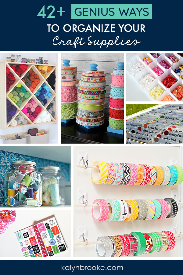 I love every one of these ideas for organizing craft supplies! Total #CraftRoomGoals. If you need a one stop shop for craft storage inspiration this is it! Everything is organized by category: Scrapbook Paper Organization, Sticker Organization, Stamp Organization, Washi Tape Organization, Ribbon Organization, Knitting Organization, Sewing Organization, and even craft organization tips for all the odds and ends in your craft room!