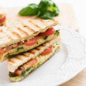 Grilled Tomato-Basil and Mozzarella Panini