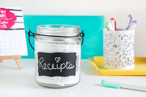 receipt jar with chalkboard label