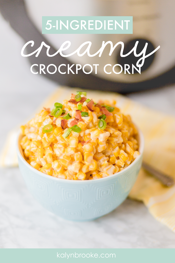 O.M.G. This crock pot cream cheese corn is amazing! Even though it's a vegetable, I would totally call this a creamy comfort food. The savory spices mixed with a touch of sweet from the cream cheese are slow cooked to delicious perfection. This is my go-to easy corn recipe now—especially for company! #crockpotrecipe #crockpotideas #cornrecipe #crockpotcornrecipe