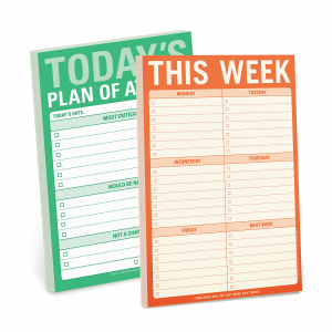 green and orange planner notepads