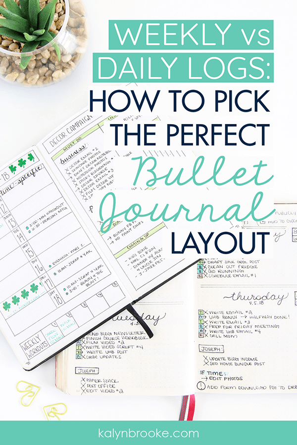 I had been wanting to try bullet journaling for MONTHS now but I could never get past this one thing: whether or not I should use a weekly layout or a daily one! All the customizability of the bullet journal (my favorite feature!) seemed to paralyze me. Then I read this detailed article about the differences between the Daily Log and Weekly Log and finally figured it out. Now I know which one works best for me--and that I have the freedom to change it on days/weeks I need to!