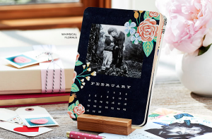 pretty black and floral easel calendar