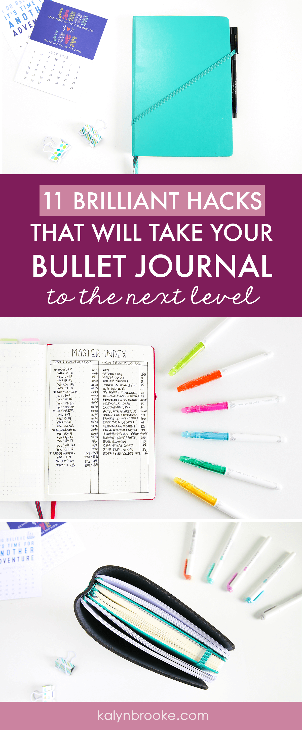 Okay, so here's the deal: I totally love my bullet journal but some weeks I fall off the wagon because I lose my pen or can't remember what page a note is on, etc. Basically, I was an overwhelmed bullet journalist in need of bullet journal hacks that actually work to make the system work for me! These are exactly what I needed! #bujo #bulletjournaling #bulletjournalinghacks #bulletjournalingtips