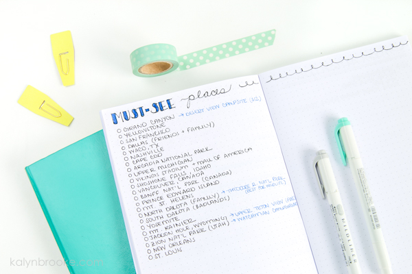 bullet journal travel bucket list layout