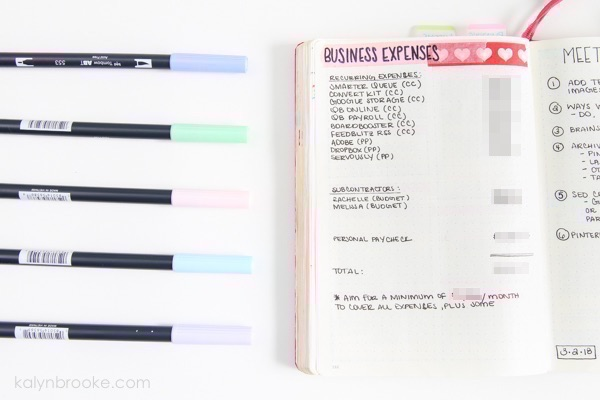 use your bullet journal for work by tracking business expenses
