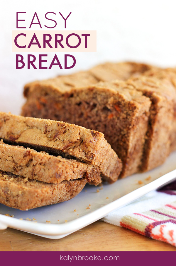 Move over zucchini and banana bread -- this updated twist on the traditional quick bread tastes just like carrot cake without the icing. Make it as a Thanksgiving side dish, or a Saturday afternoon snack. Either way, your whole family will be begging for more carrot bread, and your kitchen will smell absolutely divine! #breadrecipe #carrotbread #carrotrecipe #homemadebread #easybread