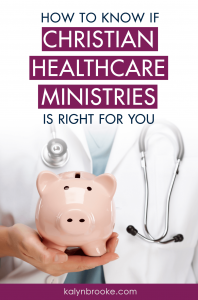 I've been trying to decide if a sharing ministry is worth it, and I'm so glad I found this Christian Healthcare Ministries review! Not only does she list pros and cons, she's honest about what I'll need to keep in mind if I switch! Finally, enough peace of mind to make an informed decision! #christianhealthcareministries #healthinsuranceoptions #healthcaresharing