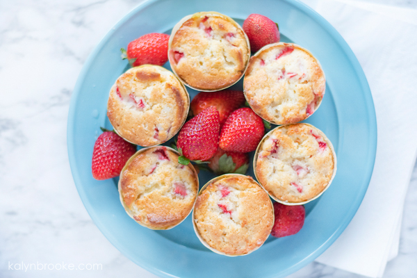 strawberry muffins arranged on a plate