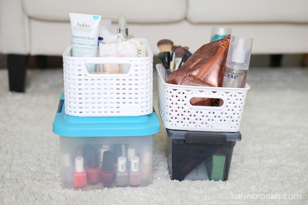 declutter makeup and reorganize into totes