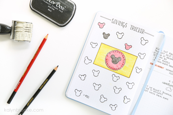 savings tracker bullet journal layout