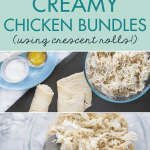 Watch your family devour these chicken bundles full of creamy flavor. You can make these soft pillows regular-sized or cut them in half for mini appetizers or little hands. Everyone I've made this crescent rolls recipe for has absolutely adored them! #chickenbundles #easymeals #easyweeknightmeals #quickeasyrecipe #quickdinner #easyweeknightrecipe #crescentrollideas